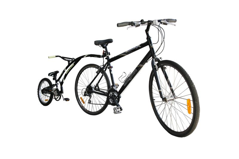 Trailer bikes attach to an adult bike to enable a child to ride tandem style.