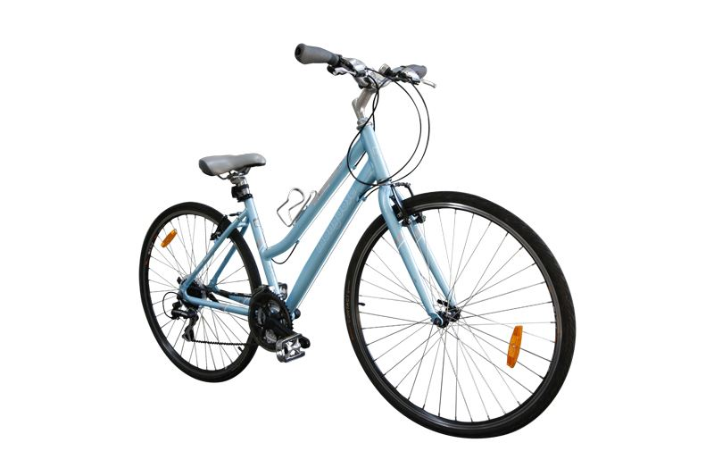 A female Mongoose Crossway hybrid comfort bike.