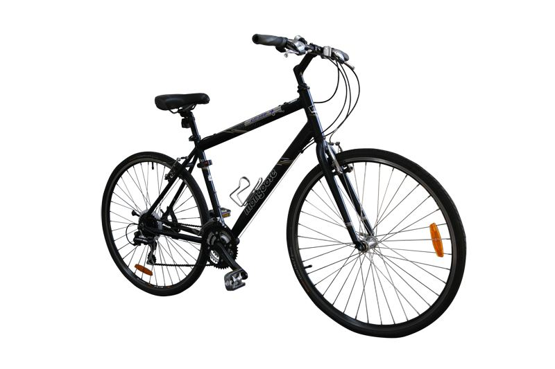 A male Mongoose Crossway hybrid comfort bike.