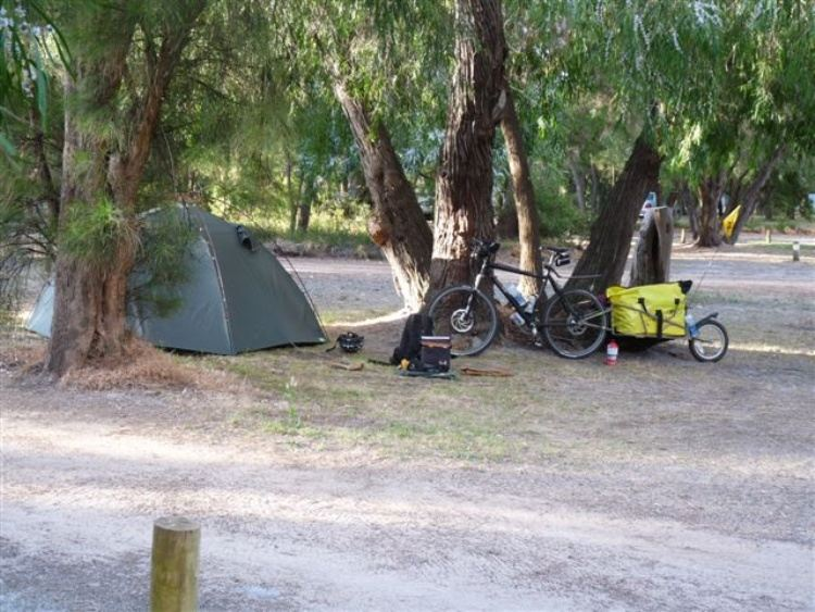 Our bike and BOB trailer 600 km from homebase in the Stokes National Park, near Esperance